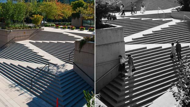 Scale per disabili da esterno a Robson Square